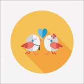 Valentine's Day lover bird flat icon with long shadow,eps10 — Stock Vector