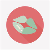Valentine's Day lip flat icon with long shadow,eps10 — Stock Vector