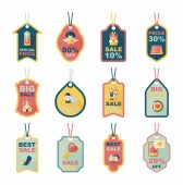 Valentines Day tag banner flat design background set, eps10 — Wektor stockowy