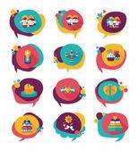 Valentines Day tag banner flat design background set, eps10 — Stockvektor