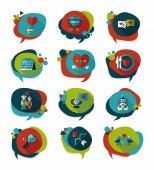 Valentin tag bannière design plat fond fixe, eps10 — Vecteur