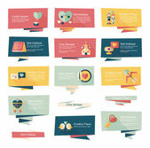Valentines Day tag banner flat design background set, eps10 — Stock Vector