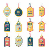 Birthday tag flat banner background set, eps10 — Wektor stockowy