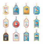 Baby tag banner design flat background set, eps10 — Wektor stockowy