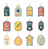 Baby tag banner design flat background set, eps10 — Stock Vector
