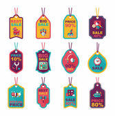 Toy tag flat banner background set, eps10 — Stock Vector