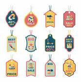 Toy tag flat banner background set, eps10 — ストックベクタ
