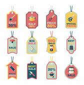 Kitchenware tag flat banner background set, eps10 — Vector de stock