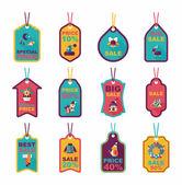 Christmas tag flat banner background set,eps10 — ストックベクタ