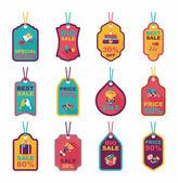 Valentines Day tag banner flat design background set, eps10 — Vecteur