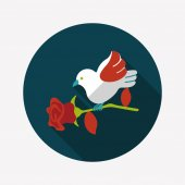 Valentine's Day lover bird flat icon with long shadow,eps10 — Vecteur
