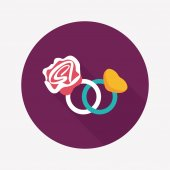 Valentine's Day diamond ring flat icon with long shadow,eps10 — 图库矢量图片