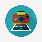 Valentine's Day camera photo flat icon with long shadow,eps10 — Vetor de Stock