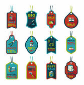 Pet tag flat banner design background set, eps10 — ストックベクタ