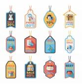 Shopping tag banner flat design background set, eps10 — Stock Vector