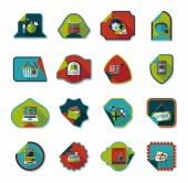 Shopping sticker banner flat design background set, eps10 — Vector de stock