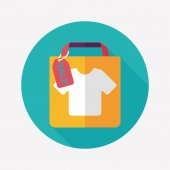 Shopping paper bag flat icon with long shadow,eps1 — Stock Vector