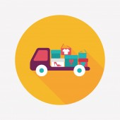 Shopping freight transport flat icon with long shadow,eps10 — ストックベクタ