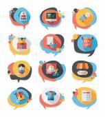 Shopping speech bubble flat design background set, eps10 — Stock Vector