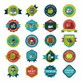 Shopping badge flat design background set, eps10 — Stock Vector