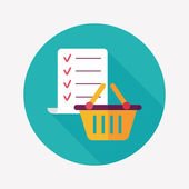 Shopping list flat icon with long shadow,eps10 — Vettoriale Stock