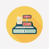 Shopping cash register flat icon with long shadow,eps10 — Stock vektor