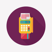 Shopping credit card machine flat icon with long shadow,eps10 — Stock vektor