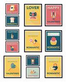 Valentines Day poster flat banner design flat background set, eps10 — 图库矢量图片