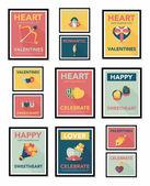 Valentines Day poster flat banner design flat background set, eps10 — Stock Vector