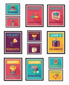 Valentines Day poster flat banner design flat background set, eps10 — Wektor stockowy