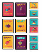 Valentines Day poster flat banner design flat background set, eps10 — Stock Vector