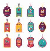 Baby tag banner design flat background set, eps10 — Vetor de Stock