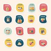 Shopping sticker banner flat design background set, eps10 — Stock Vector