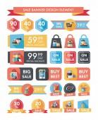 购物销售横幅平面设计背景设置,eps10 — 图库矢量图片
