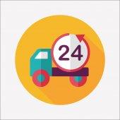 24 ore acquisti merci trasporto icona piana con ombra lunga, e — Vettoriale Stock
