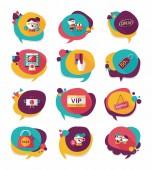 Shopping speech bubble flat design background set, eps10 — Vecteur