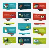 Shopping banner flat design background set, eps10 — Stock Vector