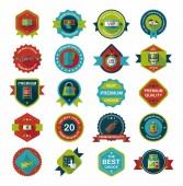 Winkelen badge banner platte ontwerp achtergrond instellen, eps10 — Stockvector