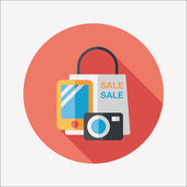 Shopping present flat icon with long shadow,eps10 — Stock Vector