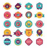 Shopping badge banner flat design background set, eps10 — Stock Vector