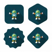 Space robot flat icon with long shadow,eps10 — Vettoriale Stock