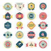 Space badge banner flat design background set, eps10 — Stock Vector