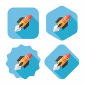 Spaceship flat icon with long shadow,eps10 — Stock Vector