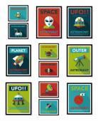 Space poster banner flat design background set, eps10 — Stock Vector