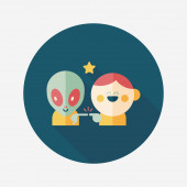 Space alien and boy friendship flat icon with long shadow,eps10 — Vetor de Stock