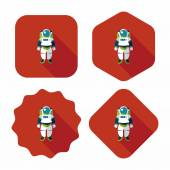 Space Astronaut flat icon with long shadow, eps10 — Stock Vector