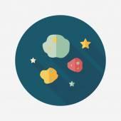 Space Meteorite flat icon with long shadow,eps10 — Vetor de Stock