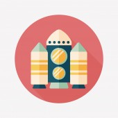 Spaceship flat icon with long shadow,eps10 — Stockvector
