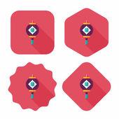 Chiński nowy rok płaskie ikona z długi cień, eps10, chiński festi — Wektor stockowy