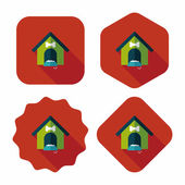 Pet dog house flat icon with long shadow,eps10 — Stockvector